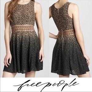 FREE PEOPLE daisy chain leopard ombré dress size 4